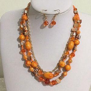 Multi orange mix bead necklace earring set